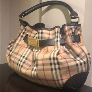 Burberry Bags - BURBERRY Haymarket Medium Willenmore Hobo Choc